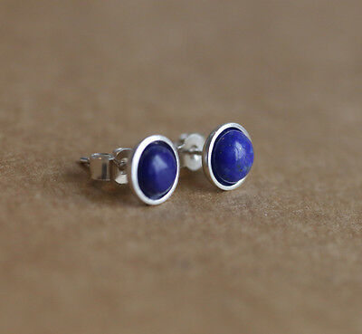 925 Sterling silver stud earrings with natural Lapis Lazuli gemstones