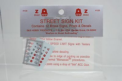 S&s Hobby Products Z Scale #100 Street Sign Kit, 12 Brass Signs, Post & Decals