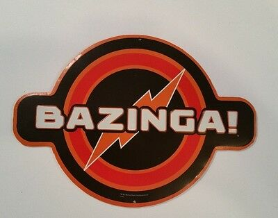 BIG BANG THEORY BAZINGA METAL DISPLAY tv show sheldon humor red orange tin sign!