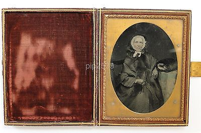 Cased 1/4 Plate Ambrotype Of Old Woman & Handwarmer - c1850s