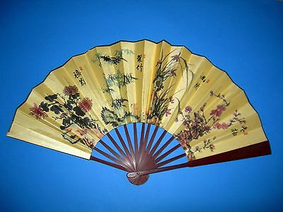 Collectable Chinese Folding Bamboo Silk Cotton Hand Held Fan Decorative /Gift