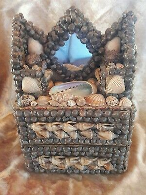 """Shell Encrusted """"Secret Hiding"""" Victorian Style Chest of Drawers Box"""