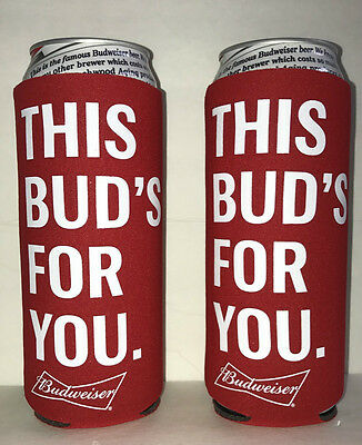 Two (2) New Budweiser 25 OZ Beer Can Coolies Coozies Koozies Bud