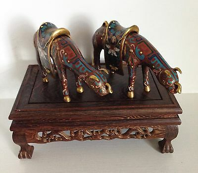 Pair Vintage Chinese Cloisonne Saddled Ox Oxen Statues Figures  ~Vintage Stand~