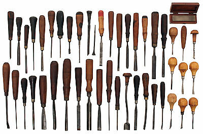 Collection of Assorted Carving Tools - Some Bent Types - Addis, Buck, Marples, E