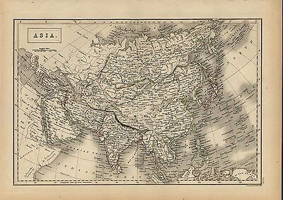 Asia 1844 fine antique map engraved Arabia India Chinese Empire China Russia