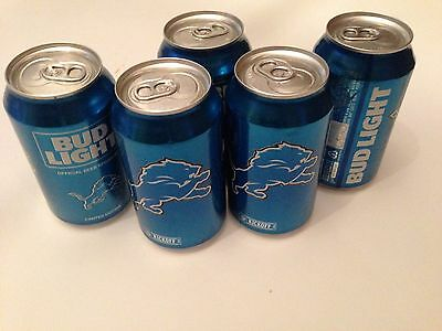 2016 NFL Detroit Lions Empty Bud Light Kickoff Cans 5 Pack Open from Bottom