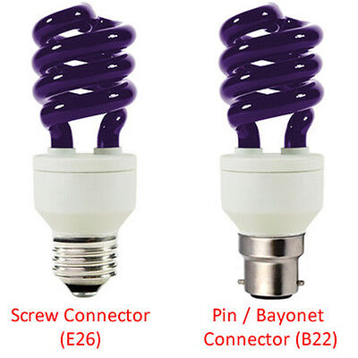 2x UV Light Bulb / Blacklight Screw E27 and Pin B22 Connectors