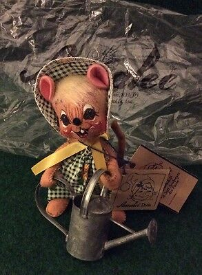 """Vintage Collectors Annalee Doll 7"""" Country Girl Sunflower Garden Mouse 1996"""