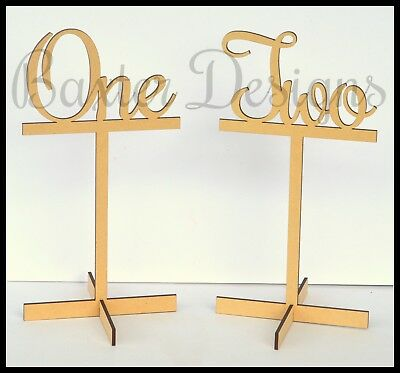 Freestanding Wooden Wedding Party Celebration Table Numbers with Base