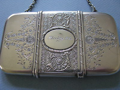 Antique Sterling Silver Card Case Chatelaine Chain Purse Whiting Co.wheeling Wv