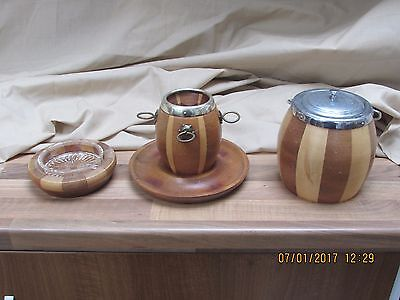 Vintage Wooden Smokers Set Tobacco Jar Pipe Rack And Ashtray Very Good Condition