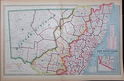 New South Wales Australia Districts 1888 Macdonald antique map large detailed