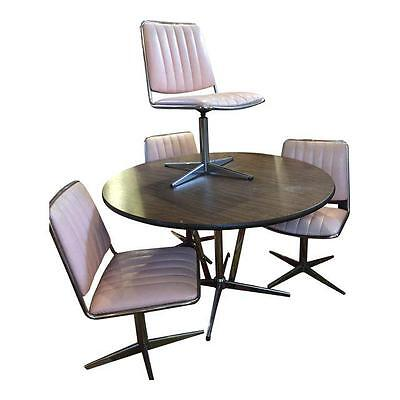 Pink Upholstered Chromecraft Set 4 Swivel Chairs & Faux Wood Top and Chrome Tabl