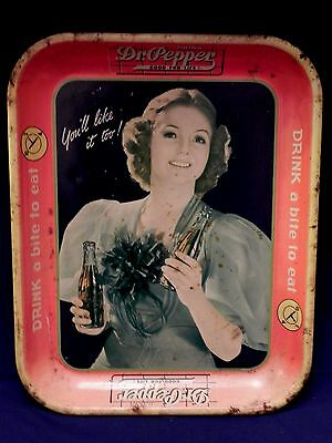 Vintage 1939 Dr Pepper Soda Tin LITHOGRAPH ADVERTISING SERVING TRAY PEPSI COLA