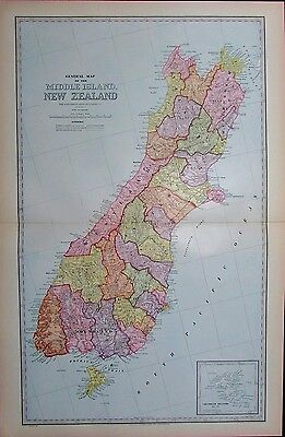 New Zealand Middle Island 1888 large detailed antique color map Christchurch