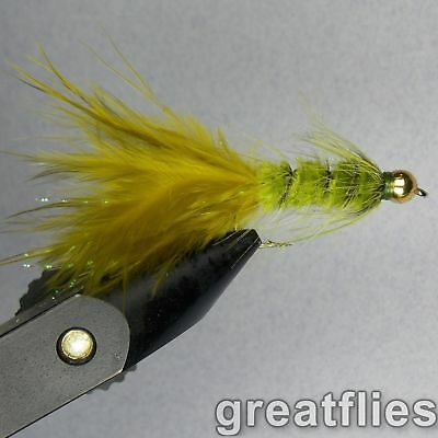1 dozen (12) - Woolly Bugger - OLIVE - Bead Head
