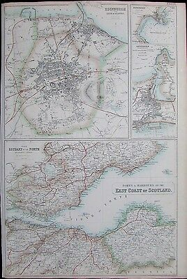 East Coast Scotland Edinburgh Firth of Forth 1860 detailed color antique map