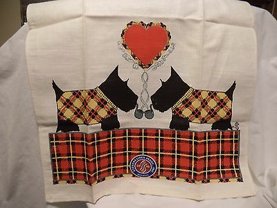 Tea or Dish Towel - Scottie Scotty Dogs Smoking Pipes Plaid Stevens Linen