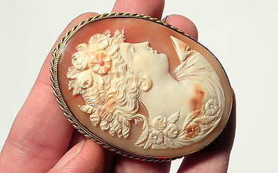 Stunning Large Antique Victorian 9ct Gold Natural Shell Cameo Diana &Case Signed