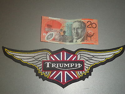 Large Triumph Motorcycle Biker Wings Patch Leather Vest Jacket Iron Sew On
