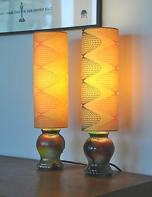 Vintage Danish mid century ceramic Lamps 'SWERVER' with new bespoke shades PAIR