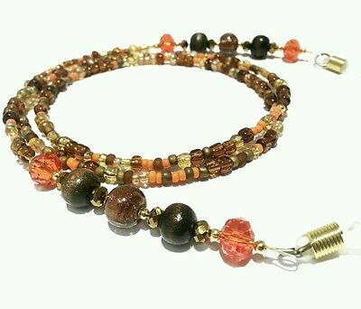 Glasses Chain Brown Orange Beaded - Spectacle Cord - Neck Strap - Retainer 72cm