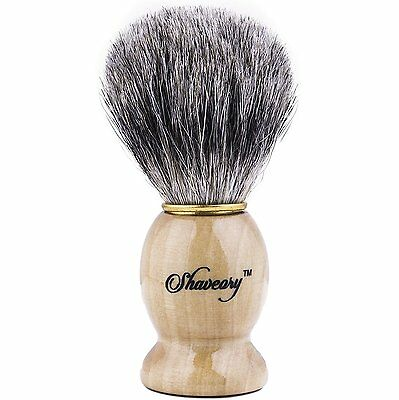 Shaveory 100% Pure Badger Hair Shaving Brush With Wood Handle Perfect for Wet