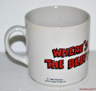 Vintage Collectible 1984 Wendy's Where's The Beef Mug Fast Food