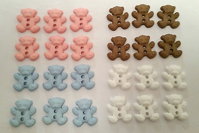 6 or 10 Teddy Bear Buttons 2 Holes Knitting Sewing Baby Crafts Girl Boy Cardigan