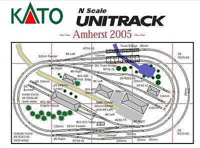 """N Kato Unitrack® Amherst 2005 30"""" x 54"""" Layout For DC/DCC power 20% Off NEW"""