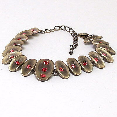 "Red Ruby Crystals Vintage Style Bracelet Yellow Gold New 9"" Fashion Gift Costume"