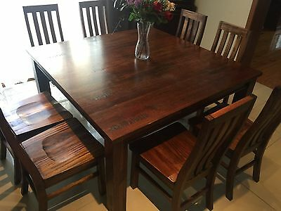 Solid Hard Wood Dining Table + 8 Chairs