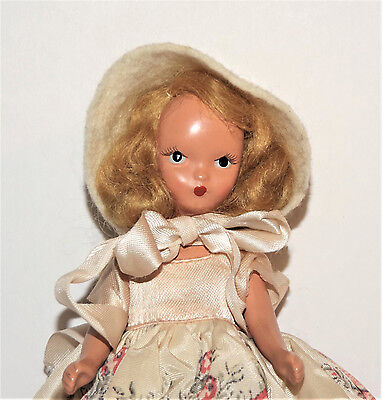 """VTG 1950's NANCY ANN Teen Body Jointed Blonde 5 1/2"""" STORYBOOK PINCH FACE DOLL"""