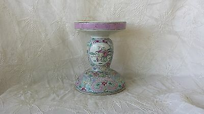 Antique Chinese Canton Famille Rose Porcelain Candle Stick Late 1800's