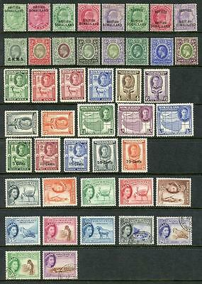 Somaliland QV - QEII, MM & Used x 44 Stamps. Cat app £135. Fronts & Backs Shown