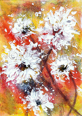 ACEO Ltd.Ed.Print Original Abstract White Flowers Floral FA075 Art Painting