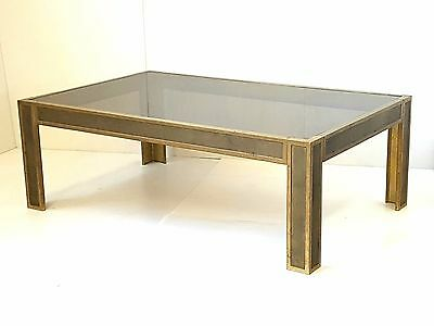Peter Ghyczy : Table Basse Rectangulaire En Bronze & Verre 1970 Vintage 70's