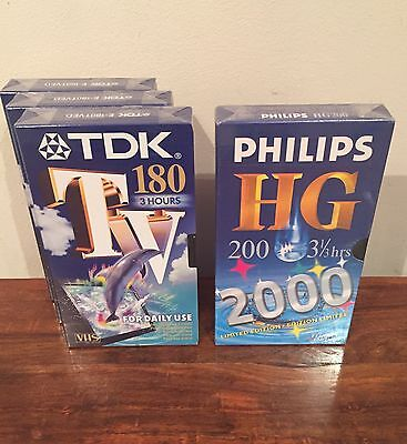 New VHS TDK E180 High Quality Tapes X 4 - Factory Sealed in Original Packaging