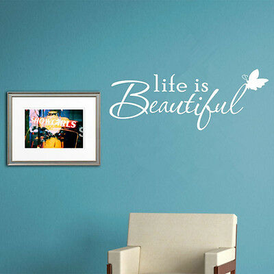 Positive Quote Life Is Beautiful Wall Art Sticker Butterfly Decal
