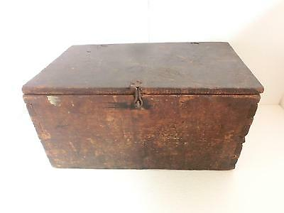 Early antique dovetailed Wood wooden primitive storage Box ~Original brown paint