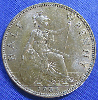 1934 ½d George V bronze Halfpenny in a high grade