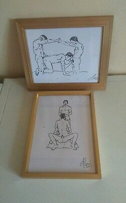 Pair of ink pen sketches nude male gay interest erotic art framed