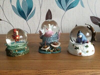Disney Exclusive Snow Globes , Tinkerbell, Tigger And Eeyore Excellent Condition