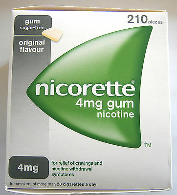 Nicorette Gum Sugar Free 210 Pieces  Original -Various Use Drop Down Menu