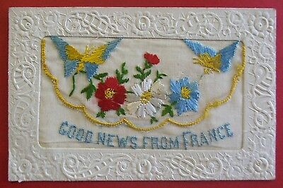 1914-1918 WORLD WAR 1 SILK Postcard GOOD NEWS FROM FRANCE