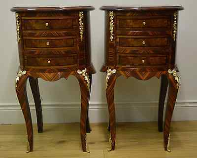 Pair of Oval Walnut Ormolu Mounted 3 Drawer Occasional Tables