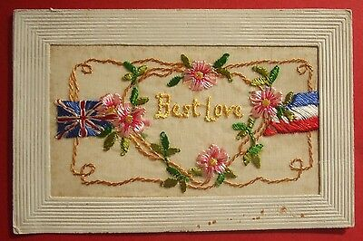 1914-1918 WORLD WAR 1 SILK Postcard BEST LOVE - FLOWERSUNION JACK & FRENCH FLAGS