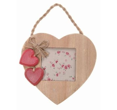 Shabby Chic Small Hanging Nordic Rustic Photo Frame with Love Heart Wooden Gift