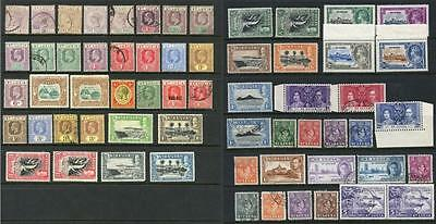 St Lucia QV - GVI Mixed Mint, Used x 60 Stamps. Cat app £175. Fronts Backs Shown